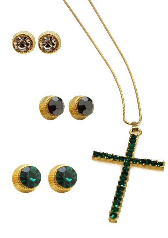 colar crucifixo+verde esmeralda+corrente longa+dourado