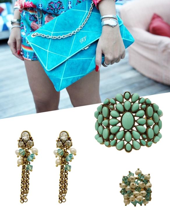 azul turquesa+anna raquel acessórios+thassia naves+maxi brinco+maxi pulseira