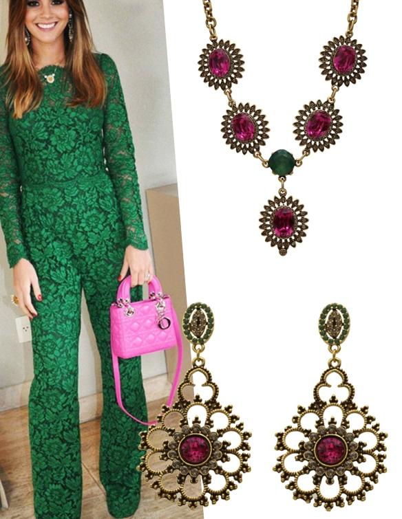 look pink+verde esmeralda+maxi colar+maxi brinco