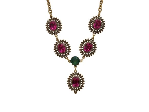 maxi colar+pink+verde esmeralda+cristal+flor+dourado+dourado+anna raquel acessorios+swarovski+bijuteria+bijutera fina+biju de luxo+comprar online+loja virtual+acessorios femininos
