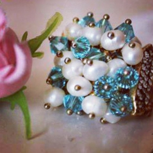 Maxi anel+turquesa+dourado+cristais+anna raquel acessorios